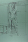 Standing Female Nude on Green Paper