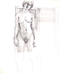 Standing Female Nude Cross Hatching