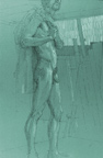 Standing Male Nude on Green Paper