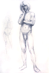 Standing Male Nude with Study